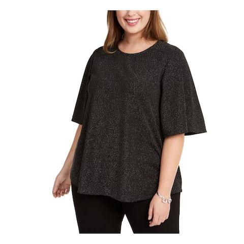 NINE WEST Womens Black Short Sleeve Jewel Neck Top Size 2X