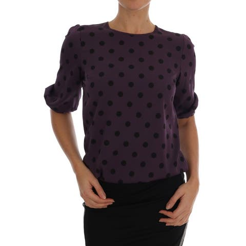 Purple Polka Dotted Silk Men's Blouse
