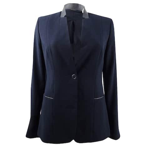 Elie Tahari Women's Tori Leather-Trimmed Crepe Blazer Jacket (6, Navy) - Navy - 6