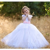e18026918 Shop Girls White Pink Crystal Bead Train Sonya Ball Gown Flower Girl ...