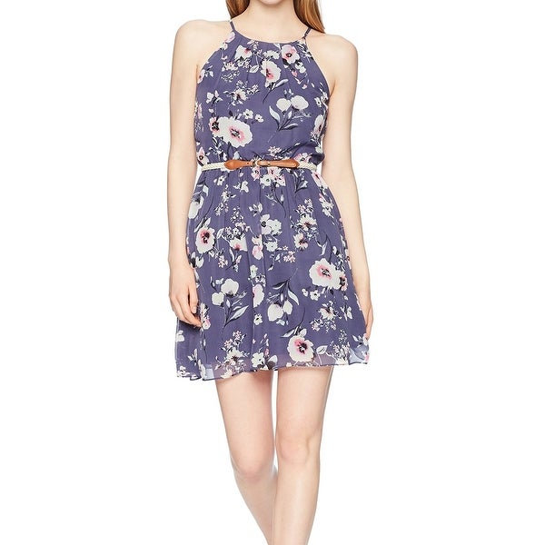BCX State Women's Pleated Neck Floral A-Line Dress