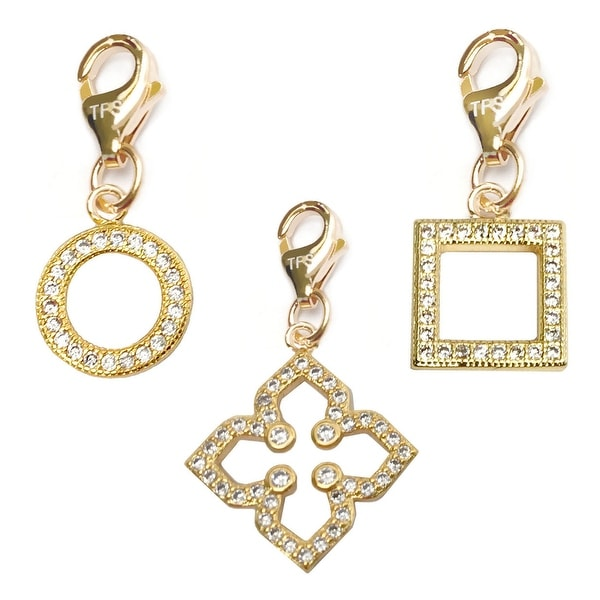 Julieta Jewelry Clover, Circle, Square 14k Gold Over Sterling Silver Clip-On Charm Set