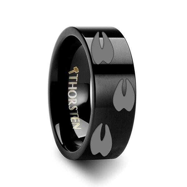 THORSTEN - Animal Track Deer Print Ring Engraved Flat Black Tungsten Ring - 10mm