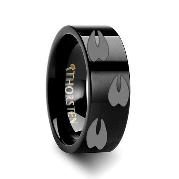THORSTEN - Animal Track Deer Print Ring Engraved Flat Black Tungsten Ring - 6mm