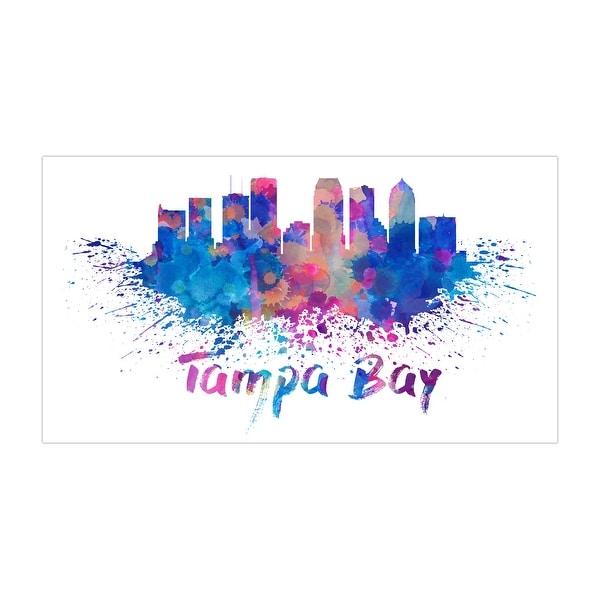 Tampa Bay - Vivid Watercolor Skylines - 24x13 Matte Poster Print Wall Art