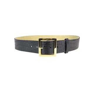 Style & Co. Women's Pilgrim Buckle Croc Faux Leather Belt - Black