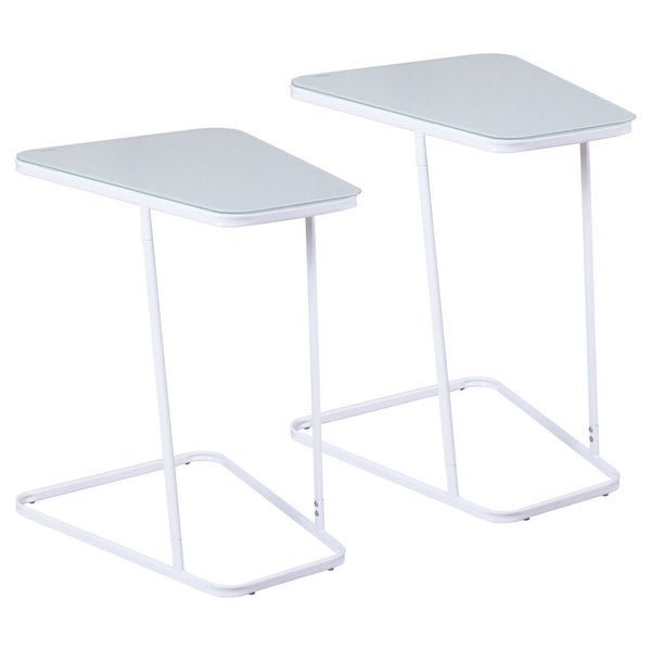 Gymax 2PCS End Table Accent Side Coffee Sofa Table Modern C Shape Glass Steel White