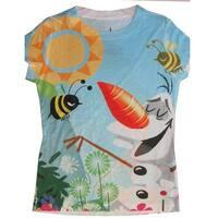Disney Little Girls Sky Blue Olaf Frozen Character Printed T-Shirt 4-6X