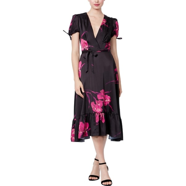 Betsey Johnson Womens Midi Dress Faux Wrap Vintage Floral