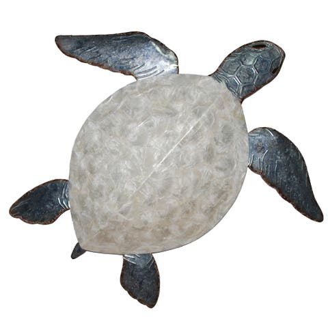 Sea Turtle Wall Decor Pewter With Pearl Shell - 4 x 24 x 21