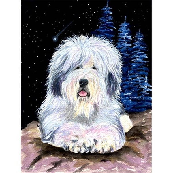 Starry Night Old English Sheepdog Canvas Flag - House Size, 28