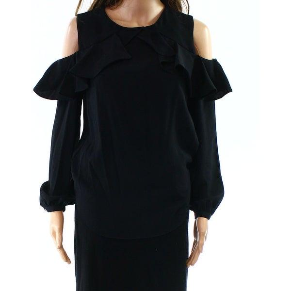 Lauren by Ralph Lauren Womens Cold-Shoulder Ruffle Blouse