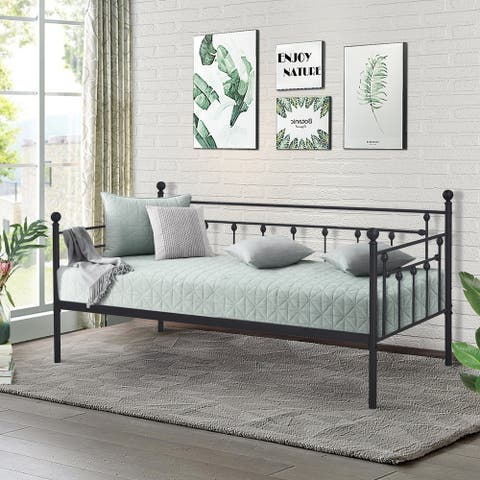 Antique Graceful Lines Iron Metal Twin-sized Day Bed by Vecelo