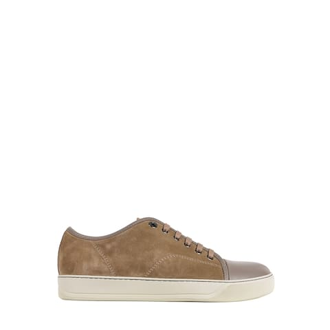 Lanvin Mens Tan Brown Suede Lace Up Sneakers