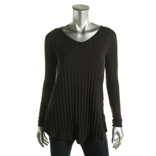 Planet Gold Womens Juniors Ribbed Knit V-Neck Tunic Sweater