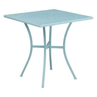 Offex 28'' Square Sky Blue Indoor-Outdoor Steel Patio Table