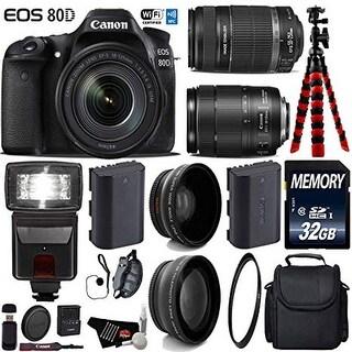 Canon EOS 80D DSLR Camera with 18-135mm is STM Lens & 55-250mm is II Lens + Case + Card Reader - Intl Model