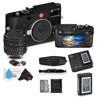 Leica M10 Digital Rangefinder Camera (Black), and Leica Elmar-M 24mm f/3.8 ASPH. Lens, With Sony 128GB Memory Card Bundle