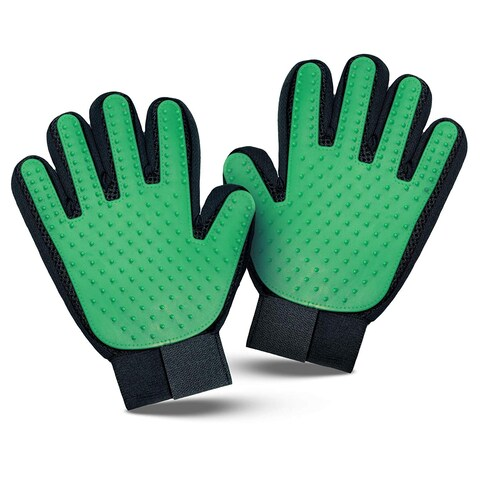 My Poochy And Me Pet Grooming Glove Brush - Deshedding Glove - Massage Mitt with Efficient Pet Hair Remover, Green