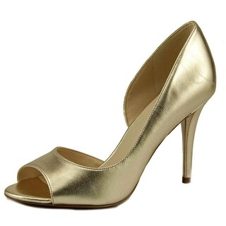 Nine West Dorey Women Open-Toe Leather Gold Heels