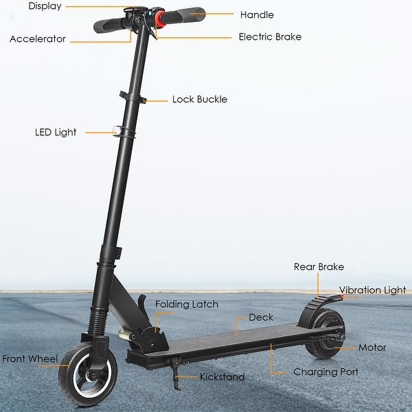 Costway 250W Portable Folding Electric Kick Scooter Brushless Motor