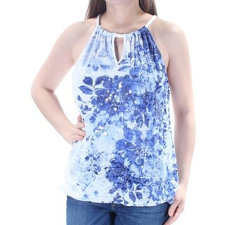 Womens Blue Floral Sleeveless Halter Party Top Size M