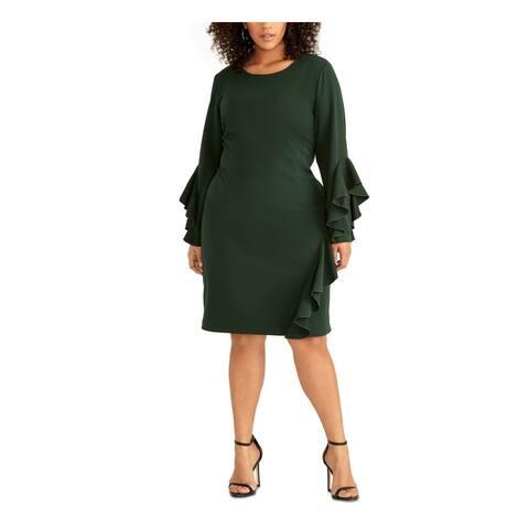 RACHEL ROY Green Bell Sleeve Knee Length Sheath Dress Size 18W