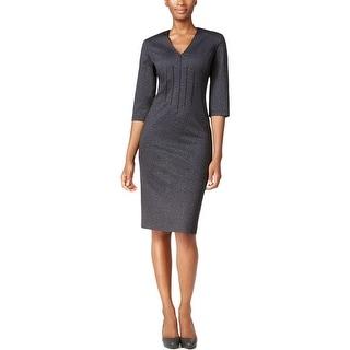 Calvin Klein Womens Wear to Work Dress Heathered Pleated