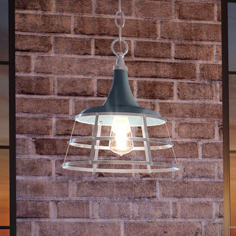 """Luxury Urban Loft Pendant Light, 14.25""""H x 12""""W, with Utilitarian Style, Gray Blue, UHP3852 by Urban Ambiance"""