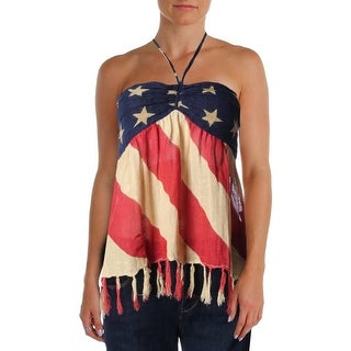 Denim & Supply Ralph Lauren Womens Gauze Shirred Back Halter Top