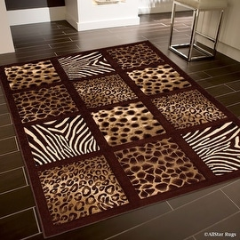 "Allstar Brown Dots Square Animal Prints Design Modern Geometric Area Rug (5' 2"" x 7' 2"")"