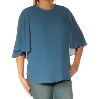 KAREN KANE $98 Womens New 1679 Blue Crew Neck Short Sleeve Casual Top L B+B