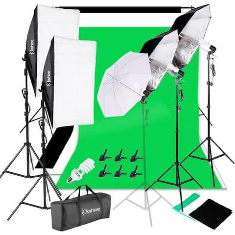 3 Color Backdrop Fabric Photo Studio Softbox Sets Continuous Umbrella Light Stand with Portable Bag - 2m*3m