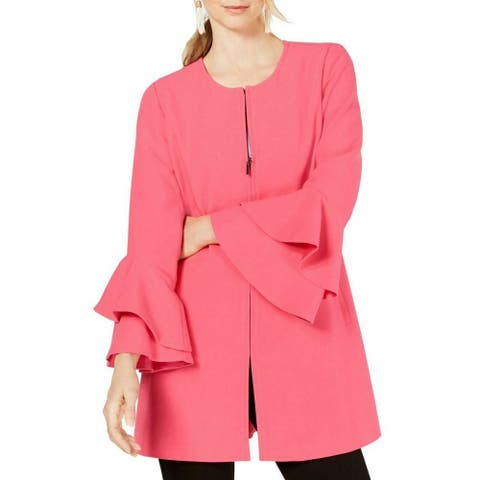 Alfani Womens Jacket Pink Size XL Flared-Sleeve Collarless Full-Zip