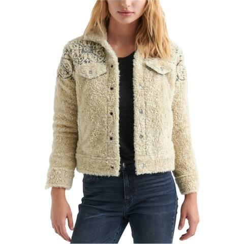 Lucky Brand Womens Sherpa Jean Fleece Jacket beige XS