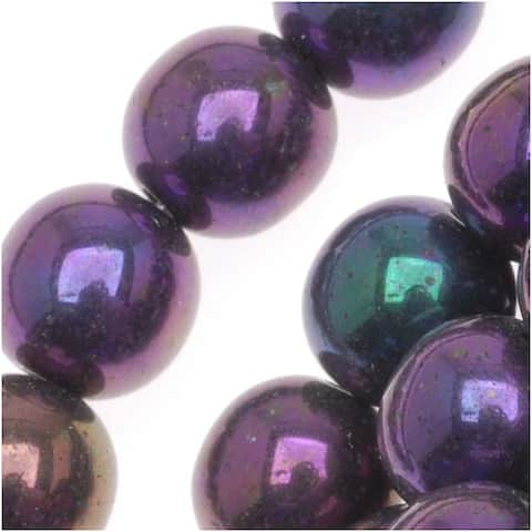 Czech Glass Druk Round Beads 8mm Purple Iris (25)
