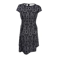 Alfani Women's Plus Size Scuba Lace-Print Fit & Flare Dress - deco lace