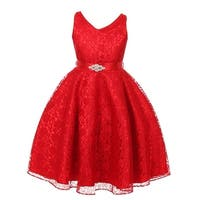 Good Girl Little Girls Red Lace Brooch Attached Flower Girl Dress