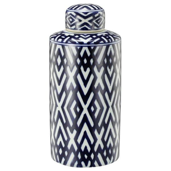 """13.75"""" Blue and White Contemporary Small Lidded Jar - N/A"""