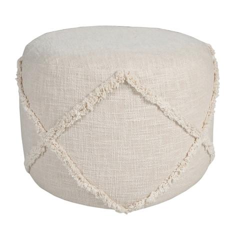 Solid Textured Decorative Diamond Pouf Ottoman