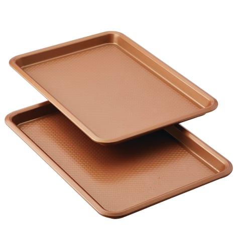 "Ayesha Bakeware 11"" x 17"" Nonstick Cookie Pans, Set of 2"