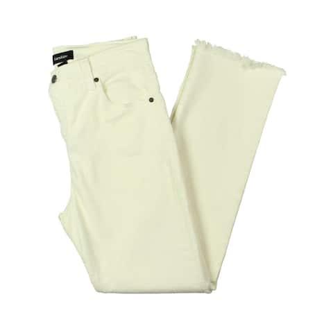 Karen Kane Womens Cropped Jeans Denim Raw Hem - Stone - 12