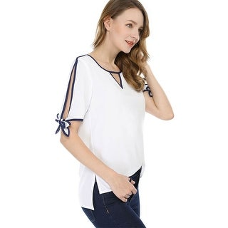 Link to Unique Bargains Women V Cut-out Front Contrast Color Bow Tie Cuffs Top Similar Items in Tops
