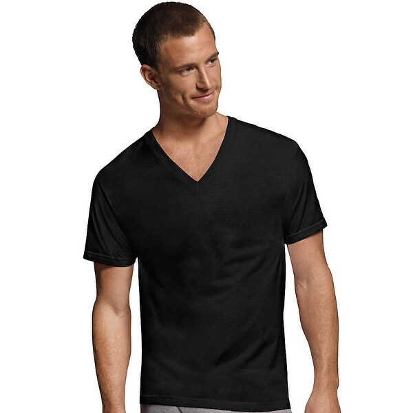 c81495b8 Shop Hanes Men's Dyed ComfortSoft® TAGLESS® V-Neck Undershirt 4-Pack - Size  - L - Color - Black and Grey - Free Shipping On Orders Over $45 - Overstock  - ...