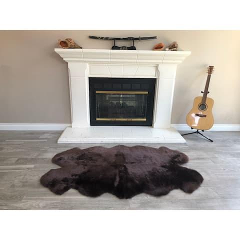"Dynasty Natural 4-Pelt Luxury Long Wool Sheepskin Dark Brown Shag Rug - 3'6"" x 5'6"""
