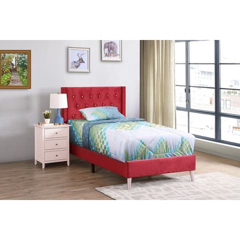 Bergen Bed with Faux Leather Tufted Headboard