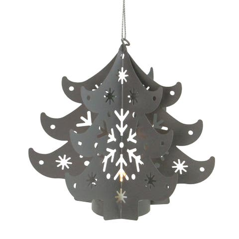 """4.5"""" Prelit Gray Cut Out Tree Christmas Ornament"""