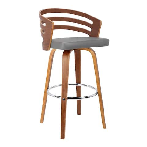Leatherette Swivel Wooden Counter Stool with Curved Back, Brown and Gray