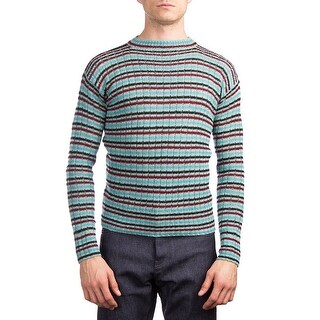 Prada Men's Wool Knitted Crewneck Striped Sweater Blue