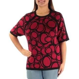 ANNE KLEIN $79 Womens New 1118 Red Geometric Short Sleeve Sweater XL B+B